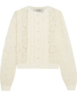 Ruffle-trimmed Corded Lace Cardigan