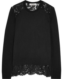 Corded Lace-paneled Wool And Cashmere-blend Sweater