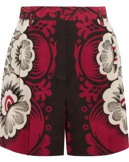 Printed Silk-chiffon Shorts