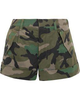 Camouflage-print Cotton-twill Shorts