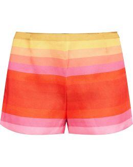 Striped Crepe De Chine Shorts