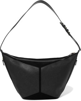 Suede And Textured-leather Shoulder Bag