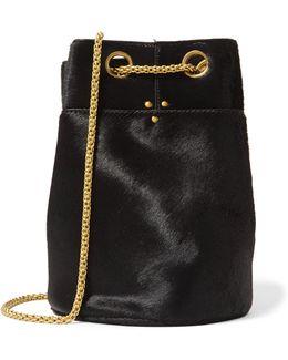 Chain-trimmed Faux Fur Bucket Bag