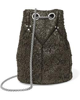 Metallic Textured-suede Bucket Bag