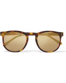 D-frame Tortoiseshell Acetate Mirrored Sunglasses