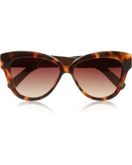Cat Eye Tortoiseshell Acetate And Glossed-elaphe Sunglasses