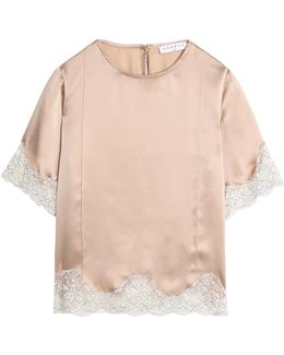 Lace-trimmed Silk-satin Top