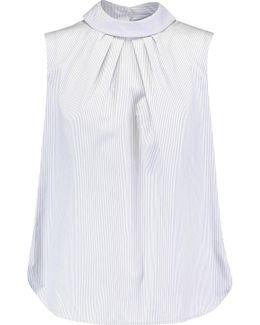 Slit-back Striped Cotton-poplin Top