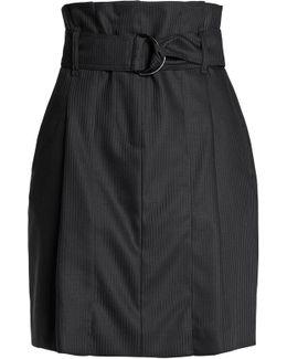 Belted Striped Wool-twill Mini Skirt