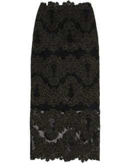 Metallic Guipure Lace Midi Skirt