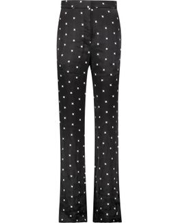 Embroidered Twill Wide-leg Pants