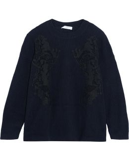 Appliquéd Cable-knit Wool-blend Sweater