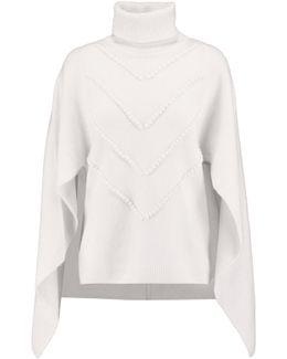 Cape-effect Appliquéd Wool Turtleneck Sweater