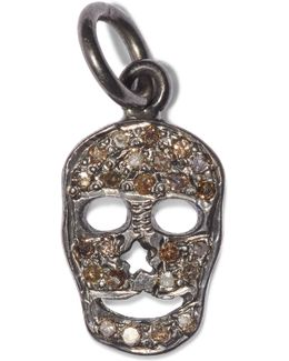 Flat Skull Oxidized Sterling Silver Diamond Pendant