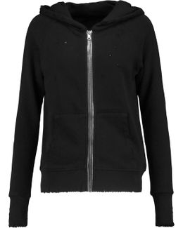 Hooded Distressed Cotton-jersey Jacket