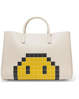 Pixel Smiley Ebury Maxi Embossed Textured-leather Tote