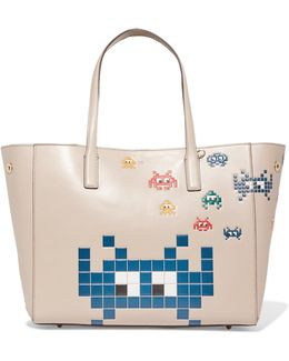 Ebery Space Invasion Embossed Leather Tote