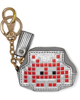 Space Invader Metallic Textured-leather Keychain