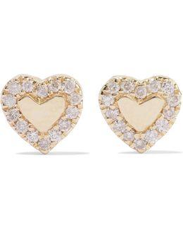 Heart 14-karat Gold Diamond Earrings