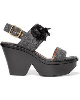 Sequin-embellished Felt And Leather Sandals