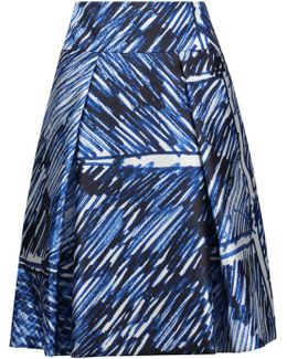 Pleated Printed Satin-twill Skirt