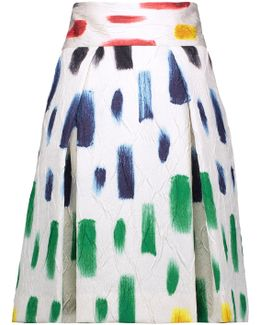 Pleated Printed Crinkled-crepe Skirt