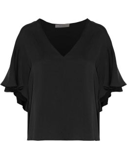 Ruffled Stretch-silk Top
