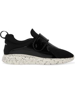 Mesh, Neoprene And Faux Patent-leather Sneakers