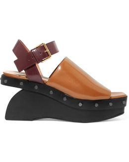 Two-tone Leather Wedge Sandals