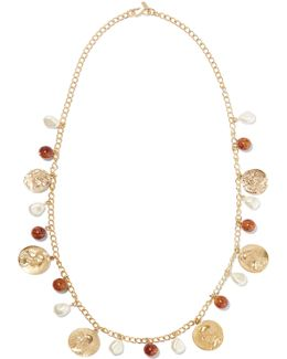 Gold-tone Bead And Faux Pearl Necklace