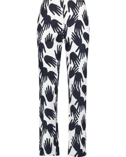 Printed Cotton Straight-leg Pants
