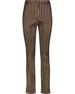 Metallic Striped Cotton-blend Crepe Slim-leg Pants