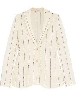 Embellished Striped Cotton-gauze Blazer