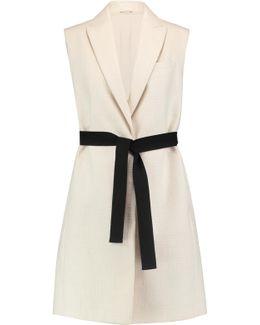 Belted Cotton-blend Bouclé Vest