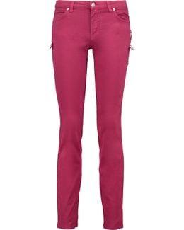 Embellished Low-rise Slim-leg Jeans