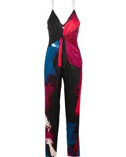 Rylen Twist-front Printed Silk-blend Jumpsuit