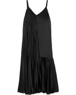 Plissé-satin And Crepe De Chine Midi Dress