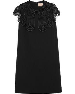Embellished Guipure Lace-trimmed Crepe Mini Dress