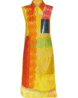Pvc-paneled Appliquéd Corded Lace Dress