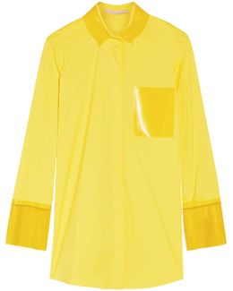 Pvc-trimmed Cotton-blend Poplin Shirt