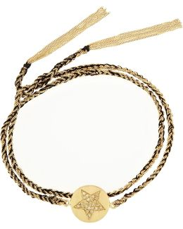 Health Lucky 18-karat Gold, Diamond And Silk Charm Bracelet