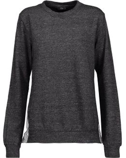 Wrap-effect Striped Cotton-blend Poplin-paneled Cotton-blend Terry Sweatshirt