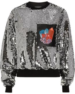 Printed Faux Leather-paneled Sequined Jersey Sweatshirt