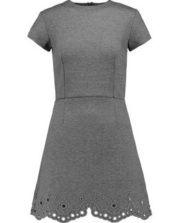 Broderie Anglaise Paneled Jersey Mini Dress