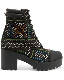 Printed Canvas Ankle Boots