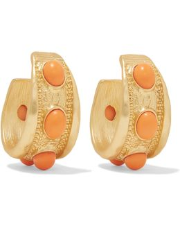 Gold-plated Stone Hoop Earrings