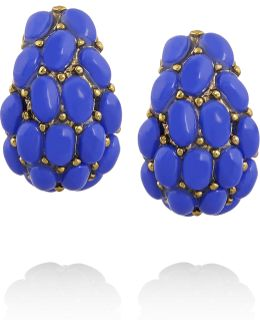 Gold-plated Cabochon Clip Earrings