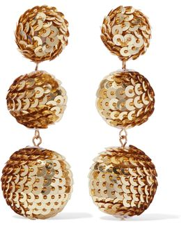 Gold-tone Sequined Earrings