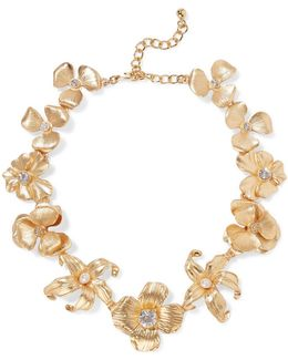 Gold-tone Crystal Faux Pearl Necklace