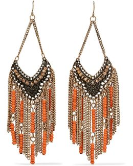 Gold-tone Crystal And Beaded Earrings
